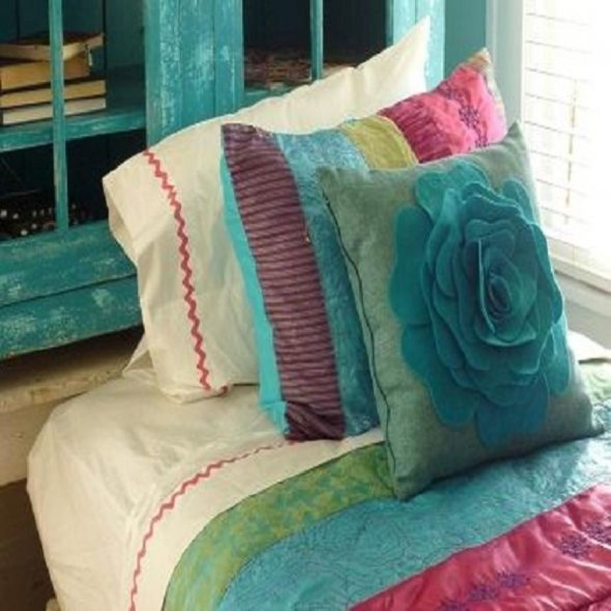 Stitch a single row of rick rack trim onto plain sheets and pillowcase to take them to the next level!