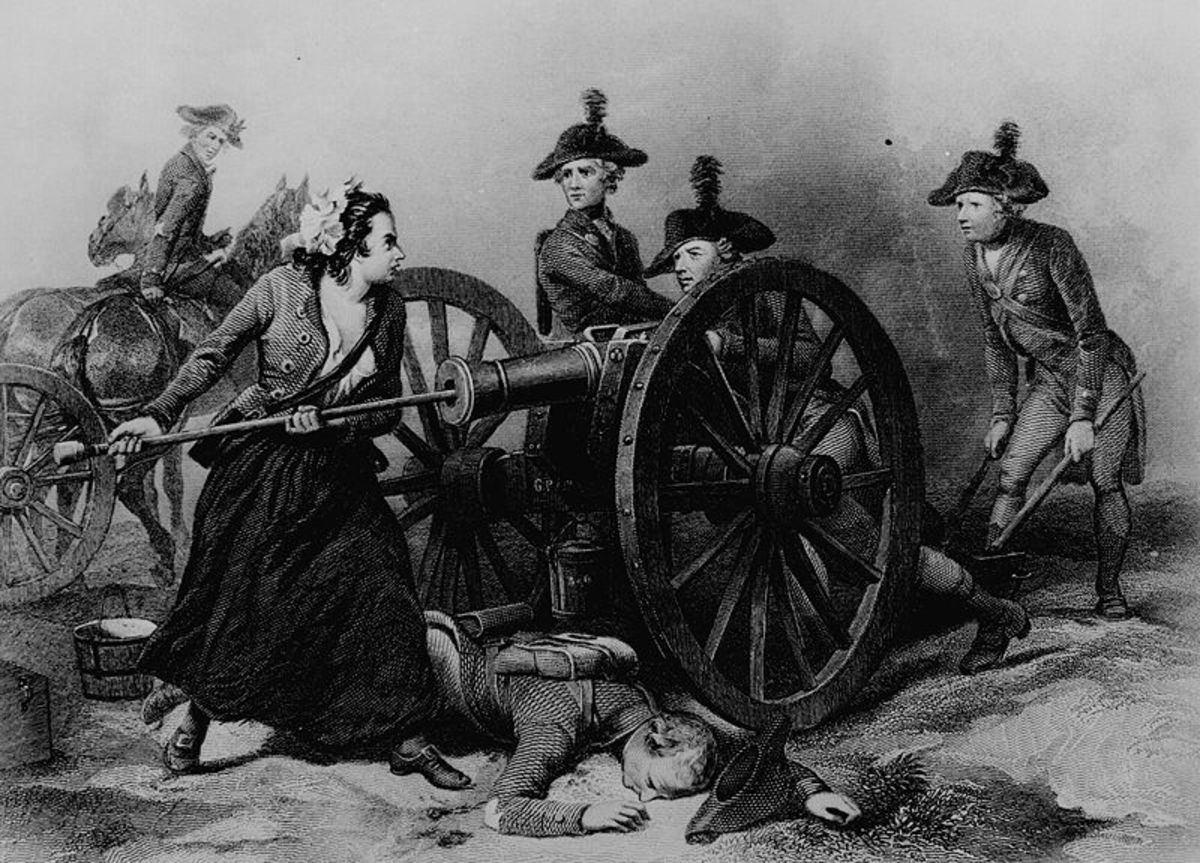 Molly Pitcher at the Battle of Monmouth. Engraving by J.C. Armytage c1859