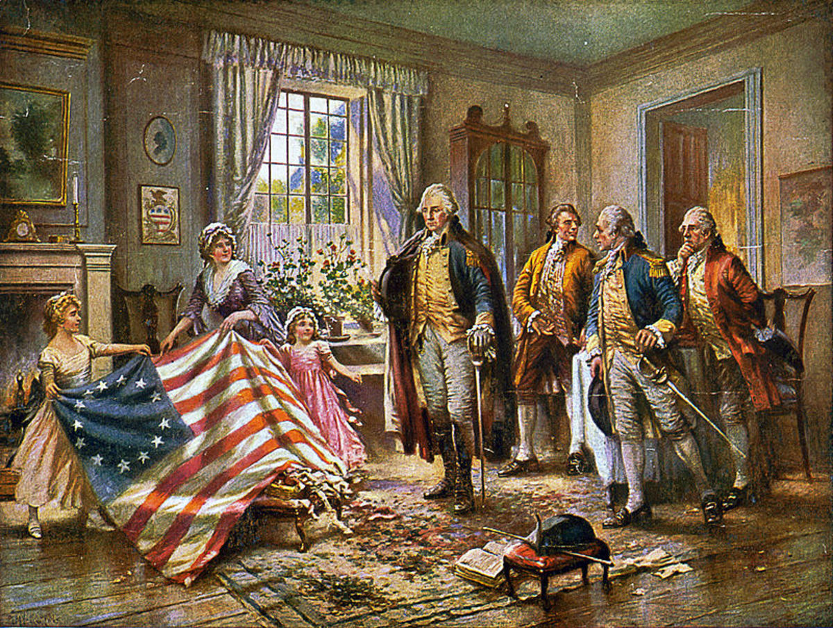 "Depiction of Betsy Ross presenting the American flag to General George Washington in the painting ""The Birth of Old Glory"" by Percy Moran"