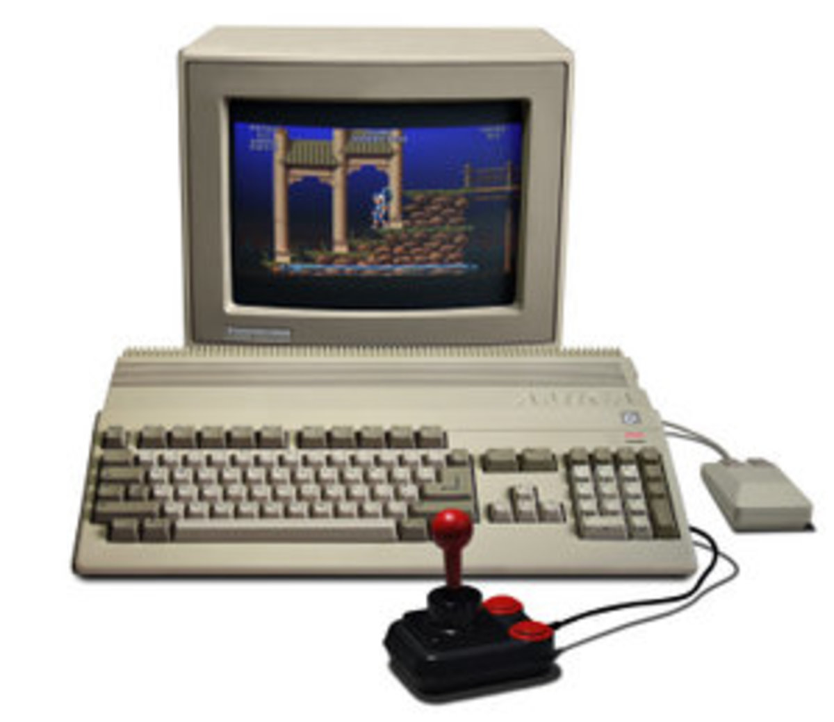 An A500 complete with monitor and joystick