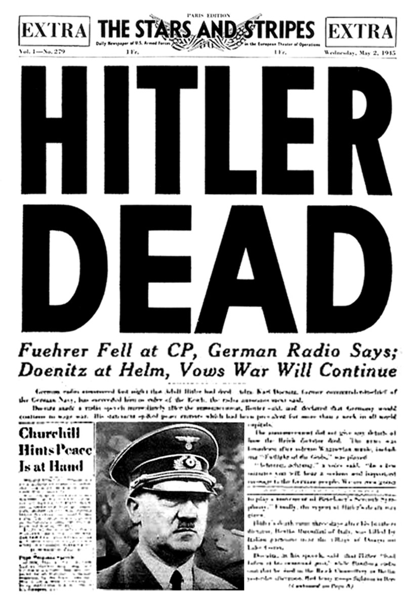 A headline in the U.S. Army newspaper Stars and Stripes announcing Hitler's death 1945