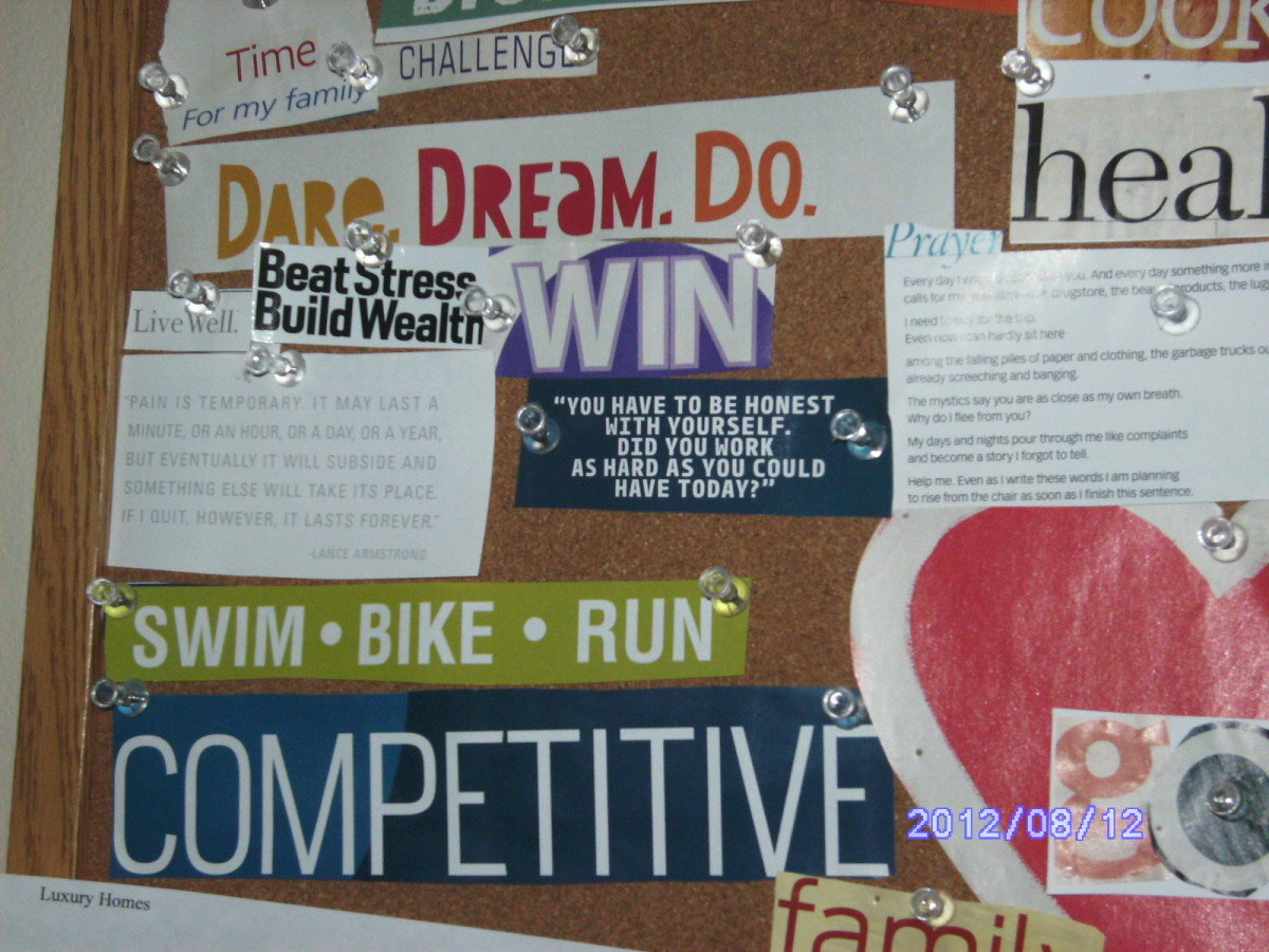 A vision board is a great way to see your goals.