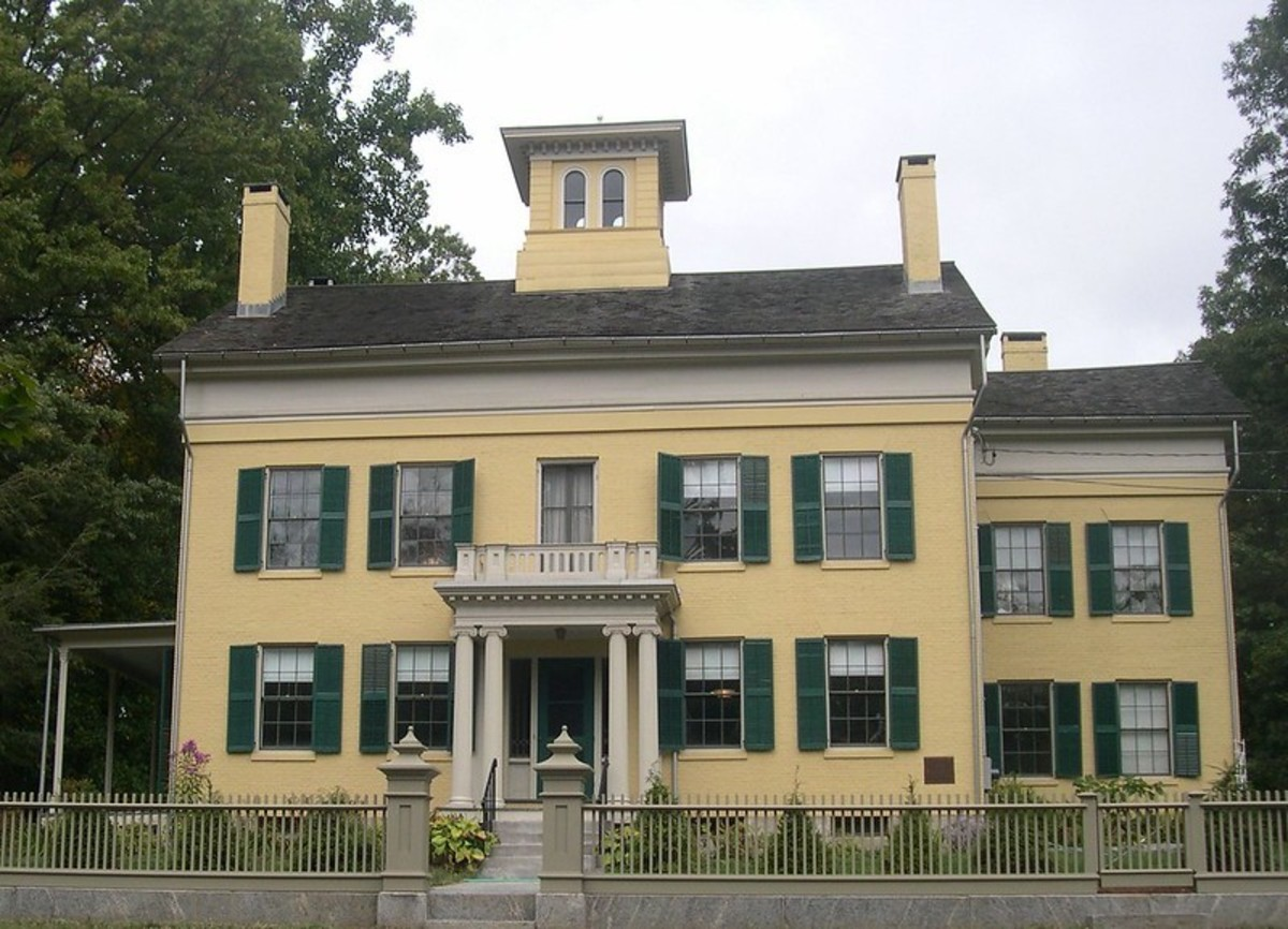 Emily Dickinson's Home. Her room was on the second floor on the left corner of the house in this picture.