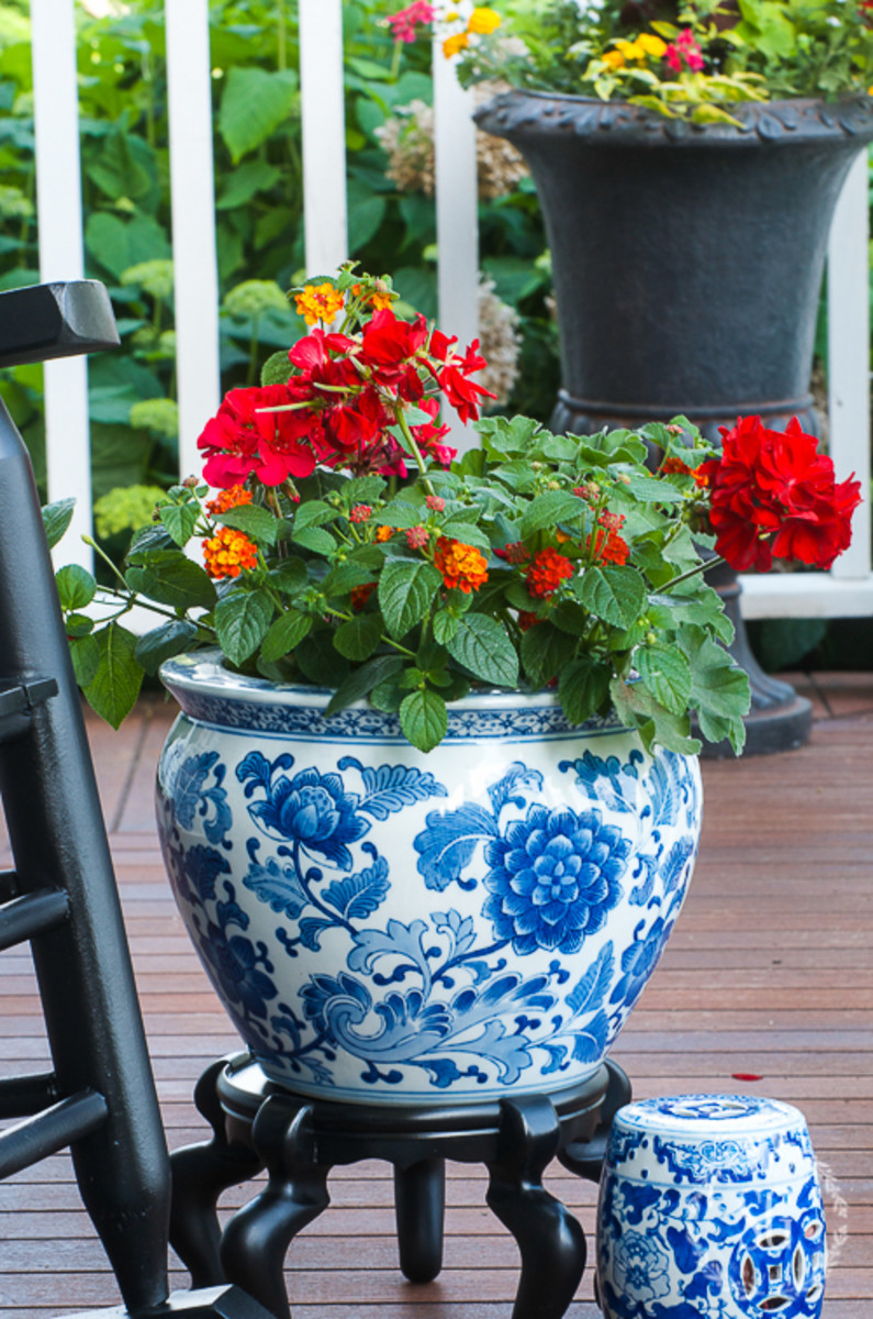 Containers brimming with gorgeous plants are perfect for the porch.