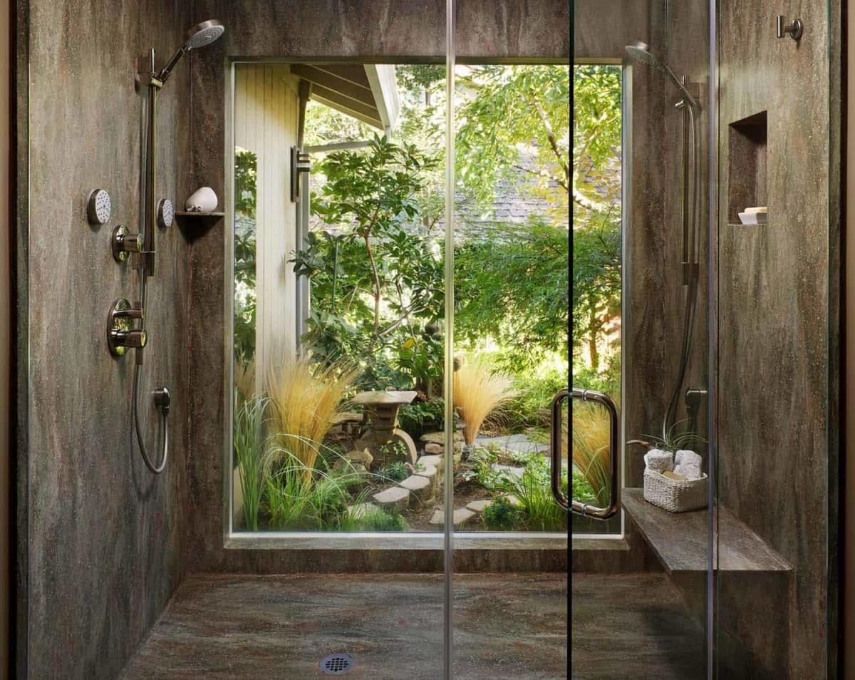 For wood energy, add a tall shower. You should be able to see a garden.