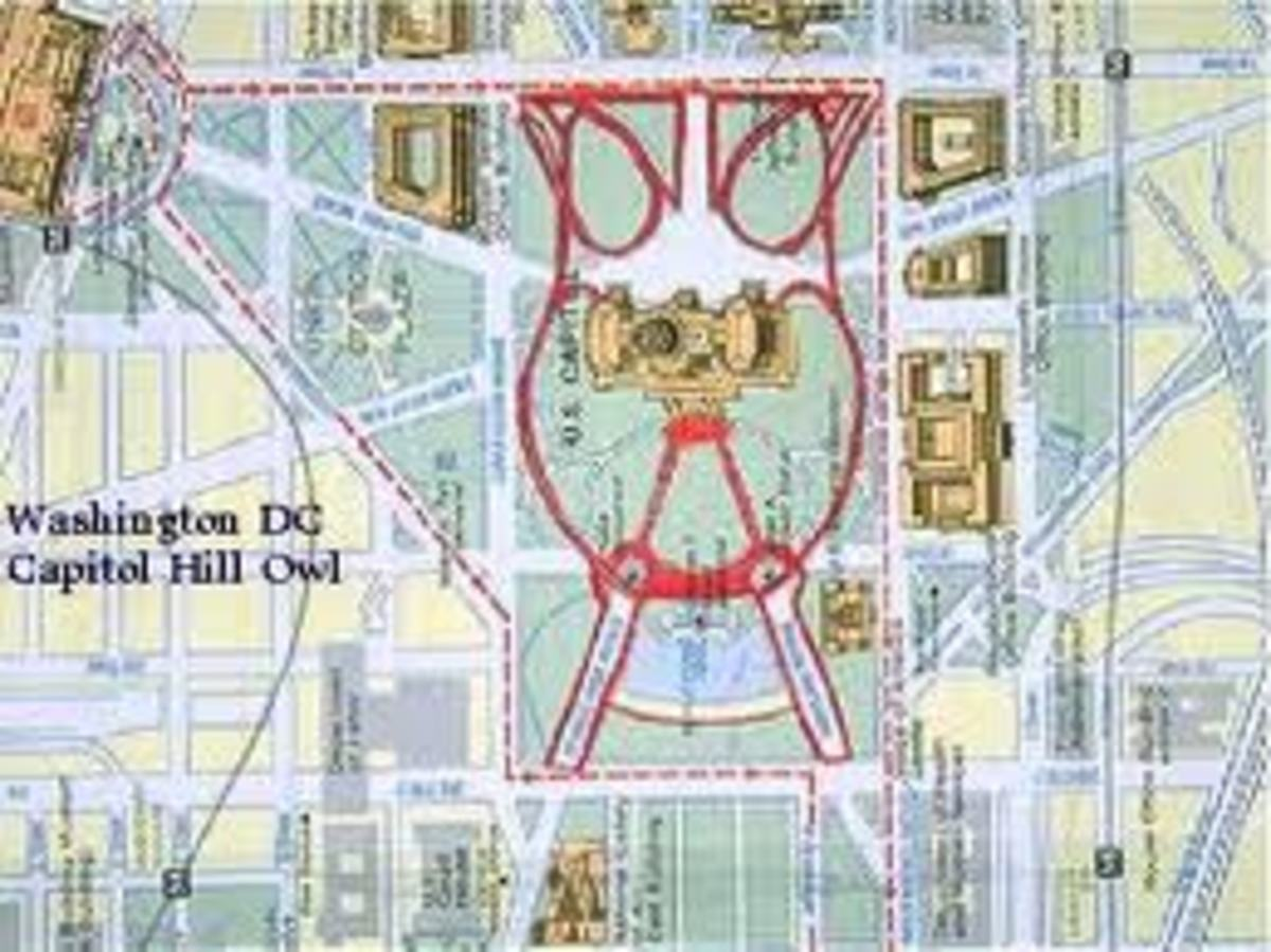 Streets and buildings are situated in Washington D.C. to portray Satanic and secret society symbols.