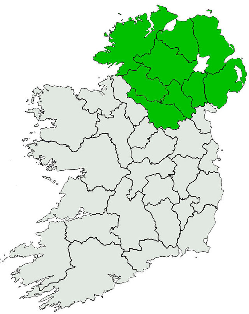 Ulster region of Ireland, later to become N. Ireland.
