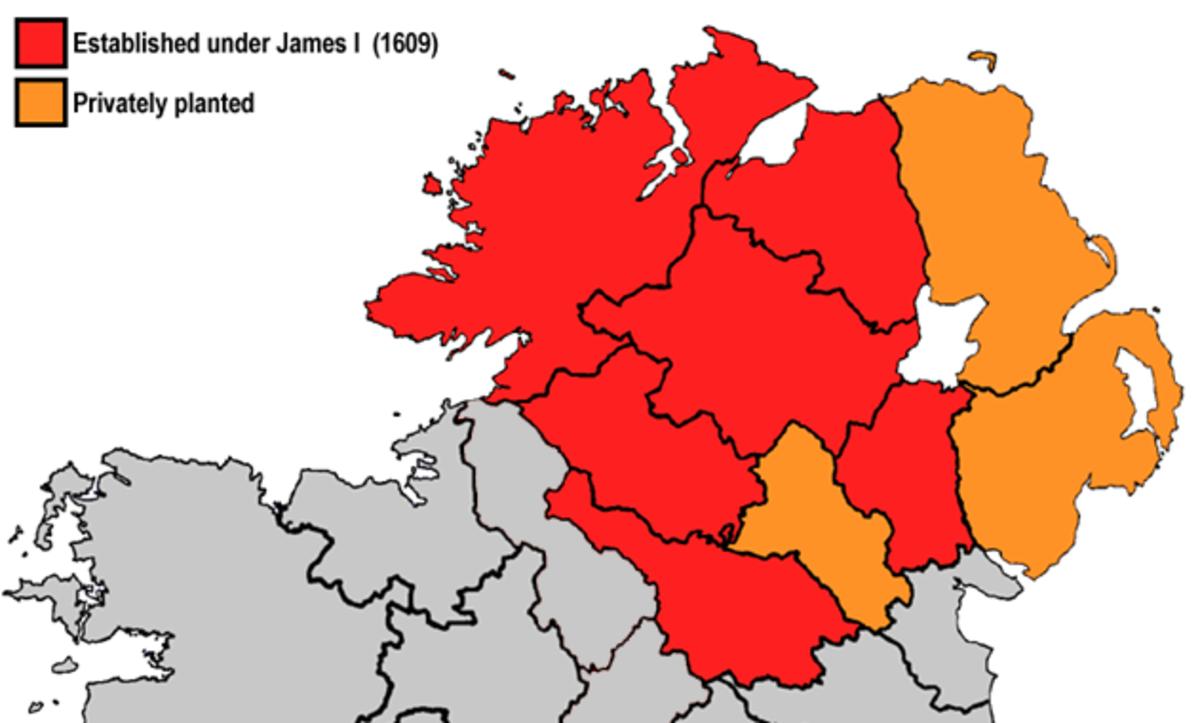Plantation of Ulster.  Red - English plantations.  Orange - Scottish plantations.