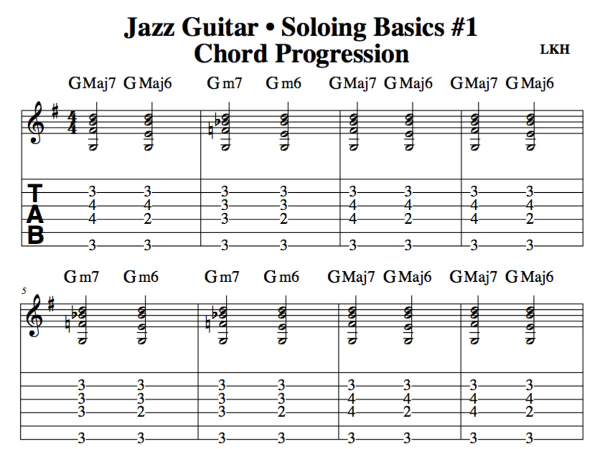 Guitar guitar chords notation : Jazz Guitar Lessons • Soloing Basics Part One • Standard Notation ...