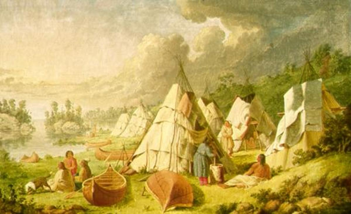 Indian encampment on Lake Huron by artist Paul Kane (1810-1871)