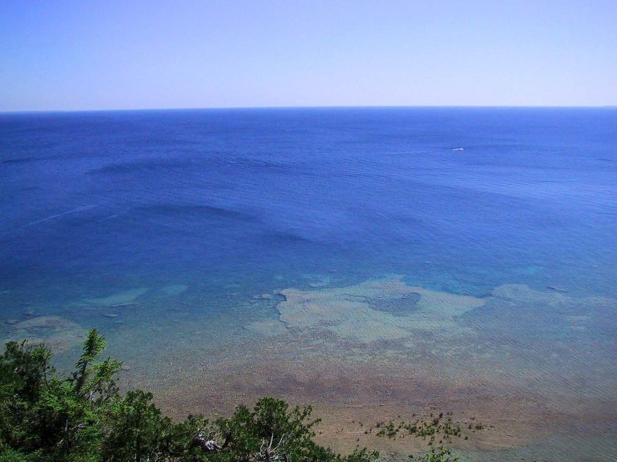 Photo taken facing east from Mackinac Island