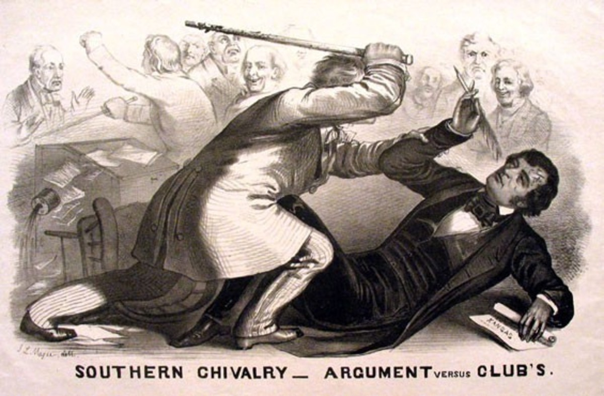 J.L. Magee's famous political cartoon of the attack on Sumner.