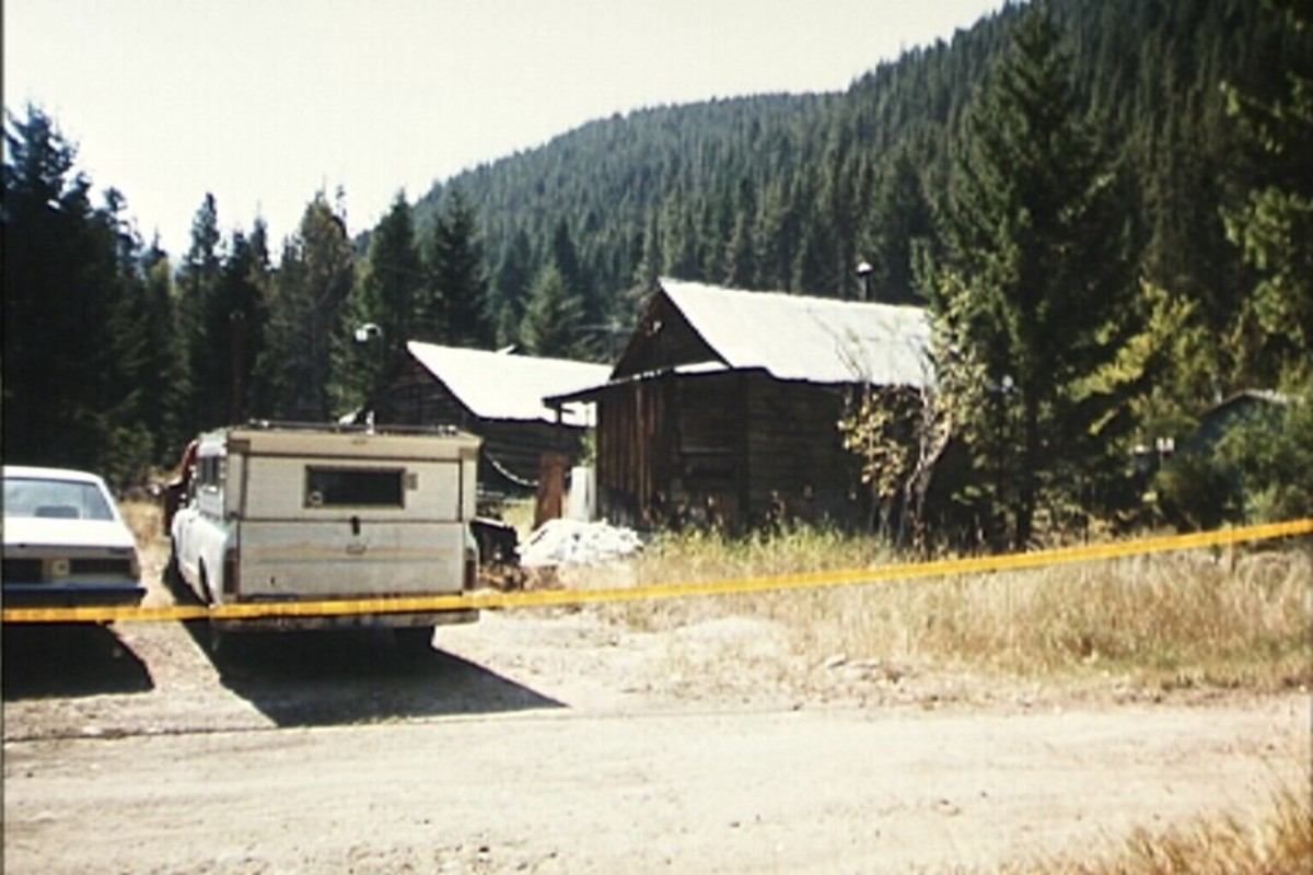 Weston's cabin next to the lower Tenmile Creek in Montana following a search by the police