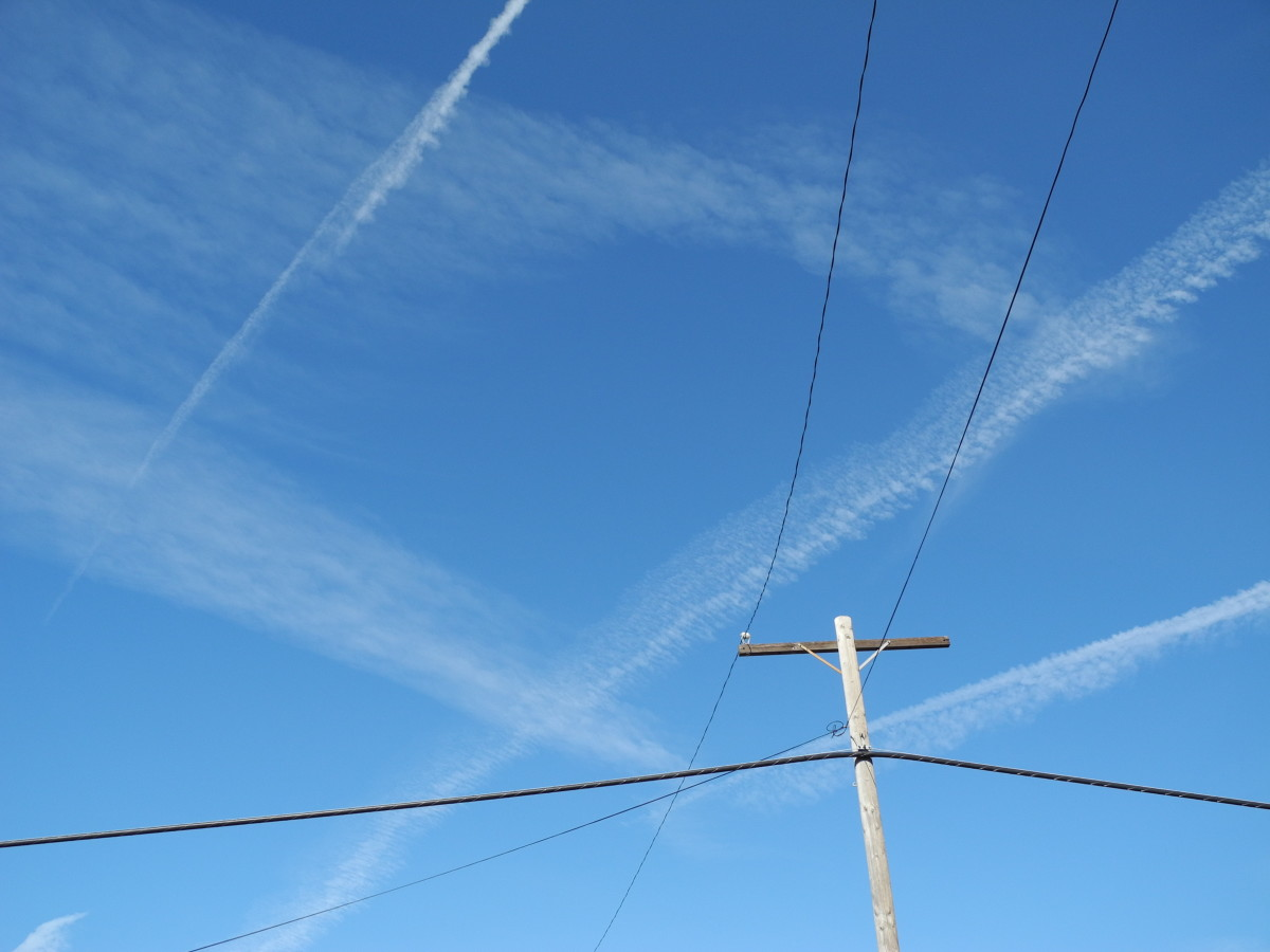I was walking my dogs and witnessed a complete chemtrail attack resembling crop dusting.  The area that I was walking in, was completely COVERED with chemtrail planes flying non-stop cross grid patterns in the sky, quickly distributing into Clouds.