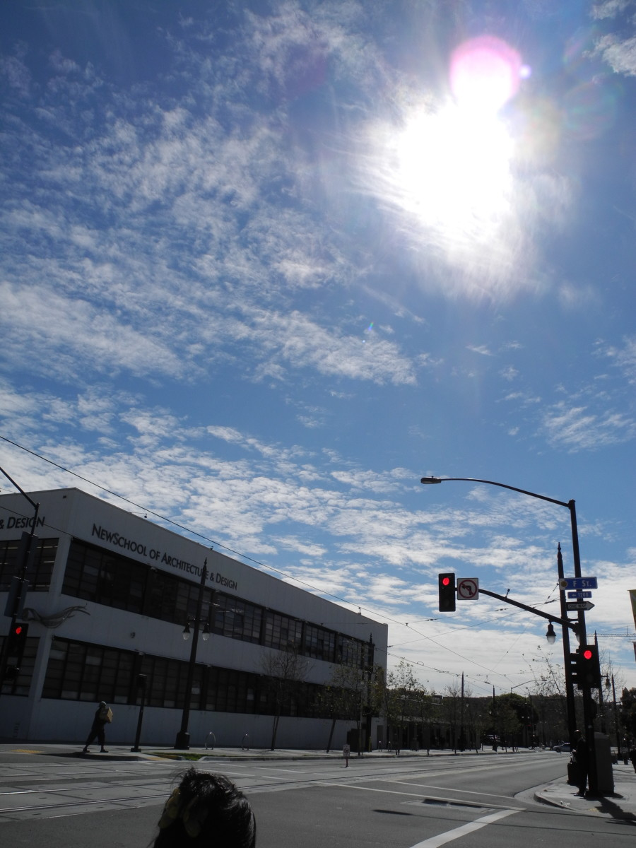 School of Architecture in Downtown San Diego, President's Day... sky covered with key punch pattern, baking soda consistency clouds.