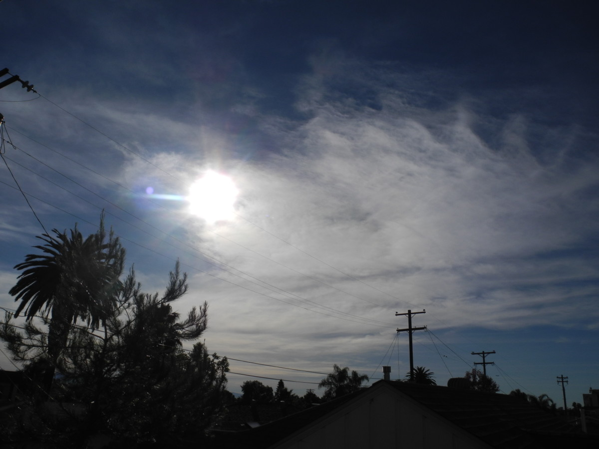 San Diego, Kensington/Normal Heights area.  Mid January.  Clouds with milky Consistency with HAARP Activity.