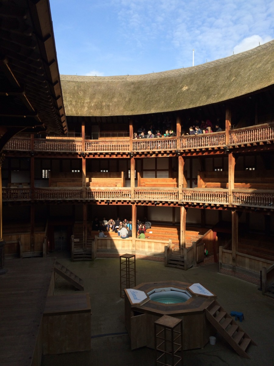 Inside the famous Globe Theatre.