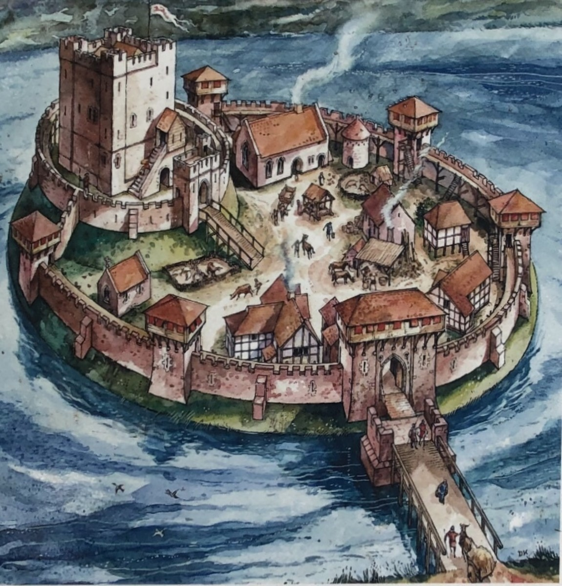 Another artists impression of the New Castle, surrounded by the pool