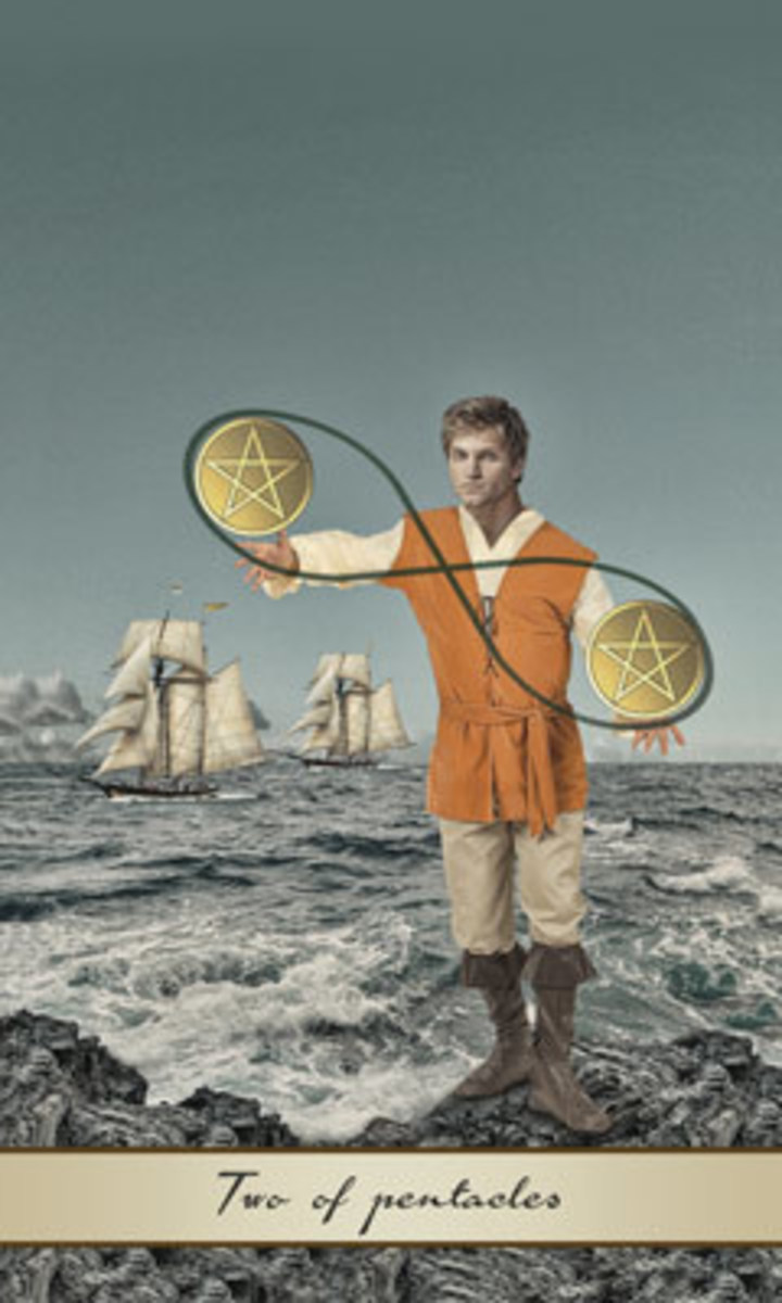 The Two of Pentacles is confronting and attempting to juggle two different financial opportunities. If he has the right focus, he can take on both jobs. If he can't focus, he may be like the turbulent ships behind him -- close to falling underwater.
