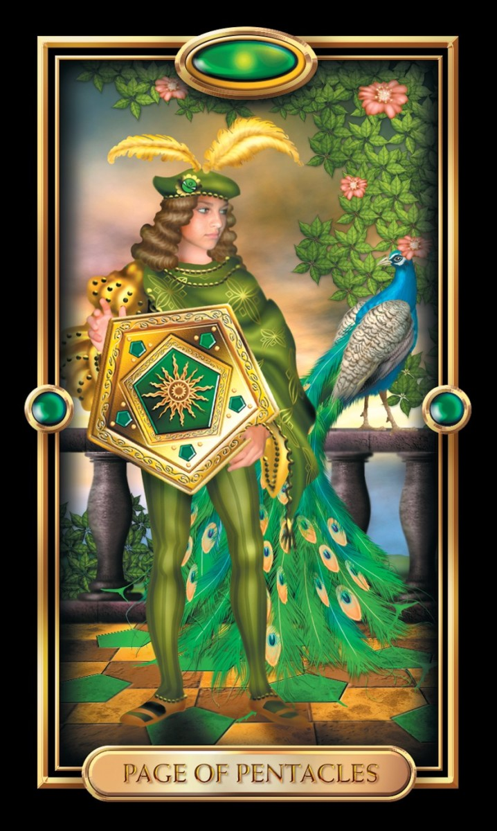 The Page of Pentacles has stumbled into the mysteries of finances. She is on a path to enlightenment and crossing from the world she knew into a plane of prosperity. She has the right poise for her future.