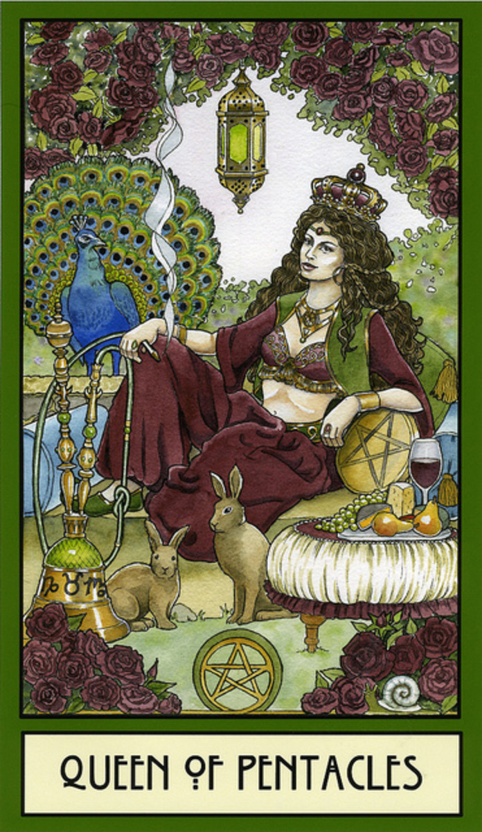 The Queen of Pentacles has come into a world of balance, luxury, and fertility. She has taken her crown as queen, she is the nurturing mother, and the attentive and loving spouse. She has made a name for herself and welcomes prosperity.