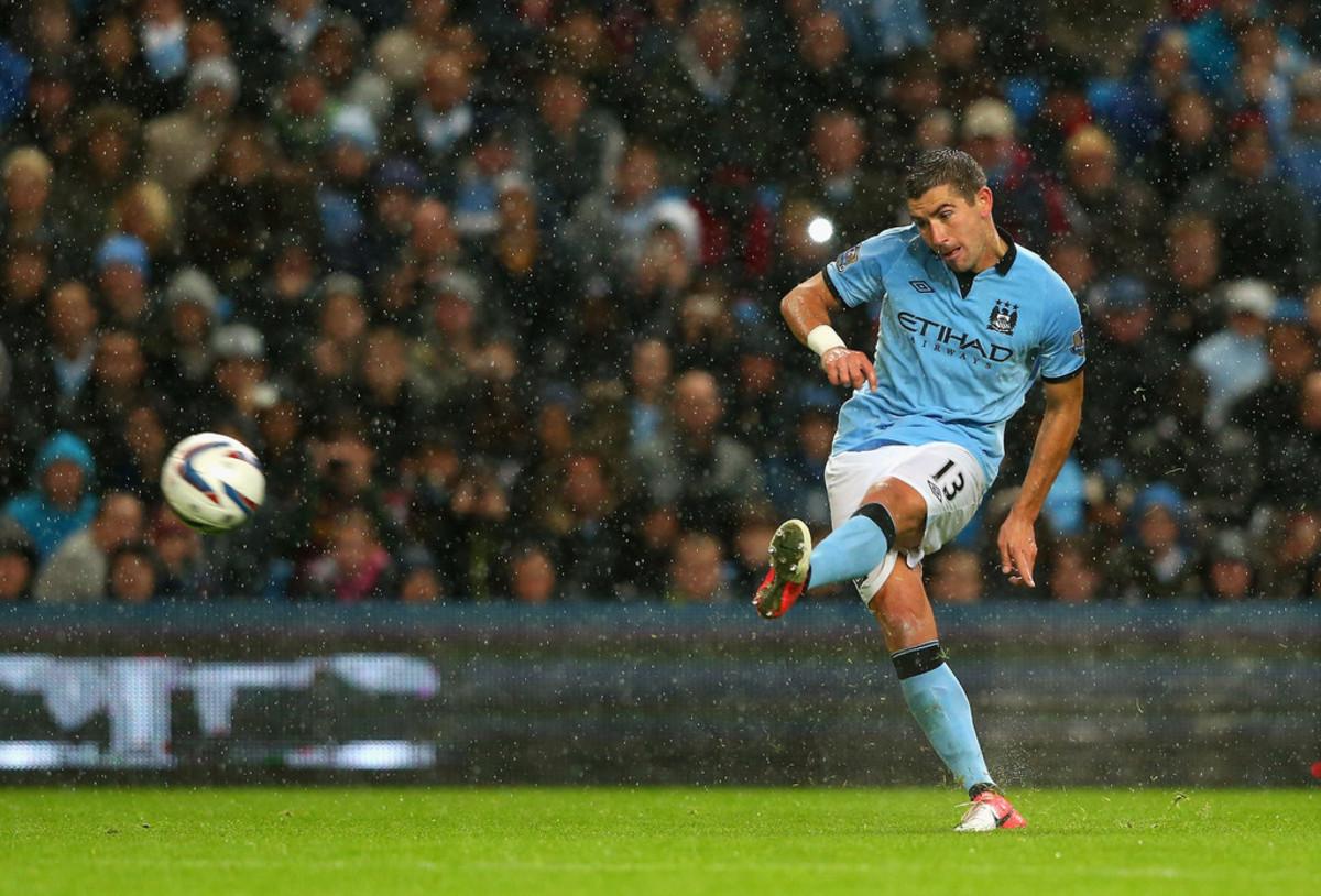 Aleksandar Kolarov taking a free kick