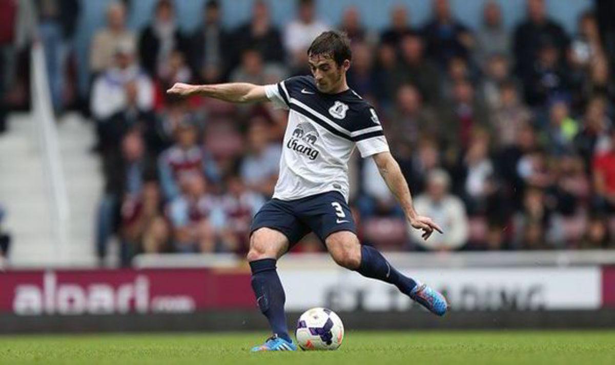 Leighton Baines taking a free-kick for Everton.