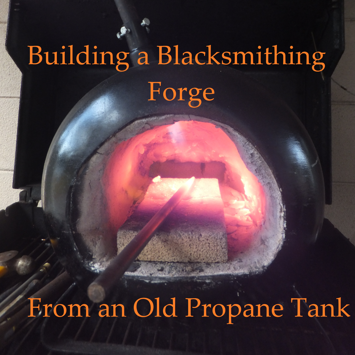 Propane Tank Forge with Punch about to Quench