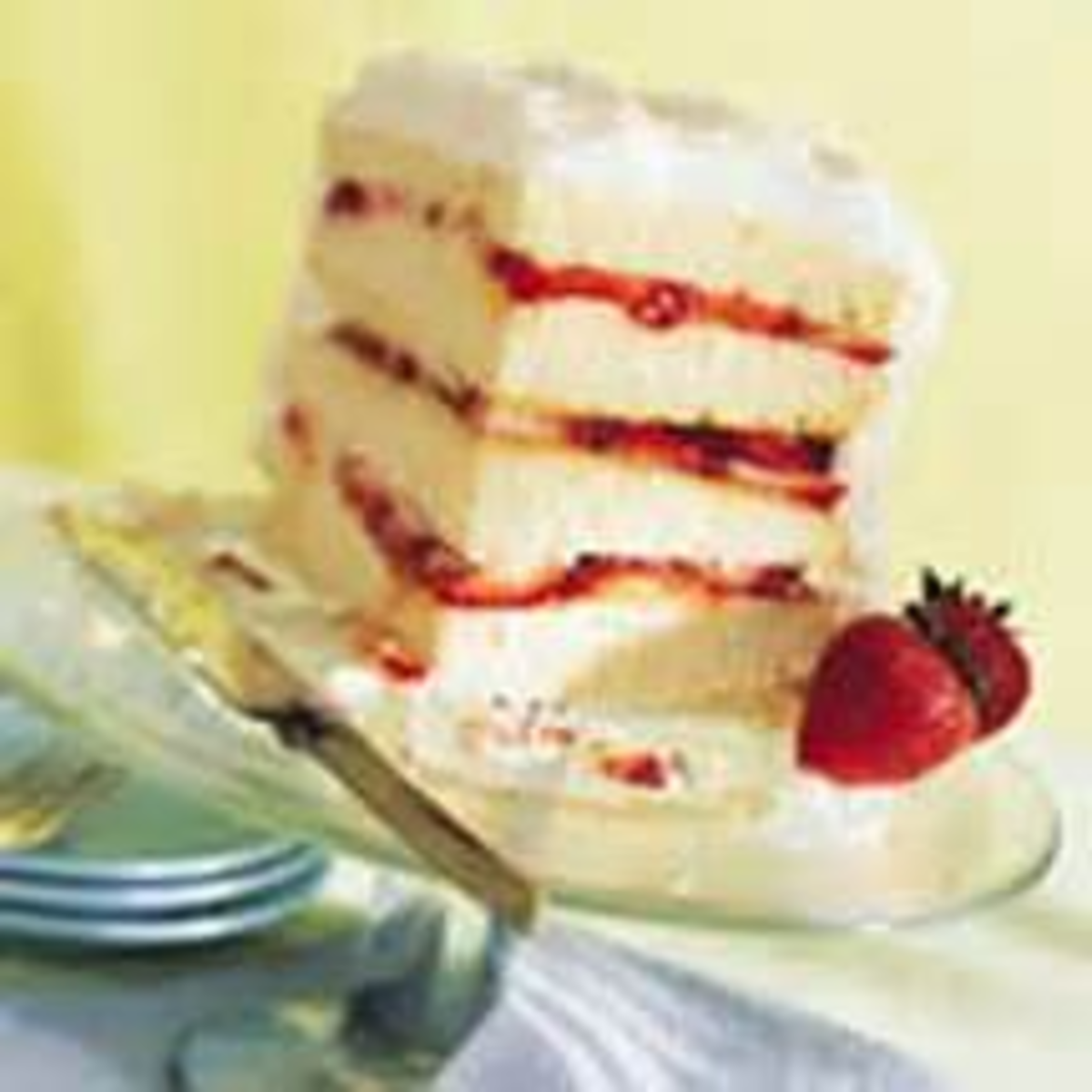 layer cake with fruit between the layers