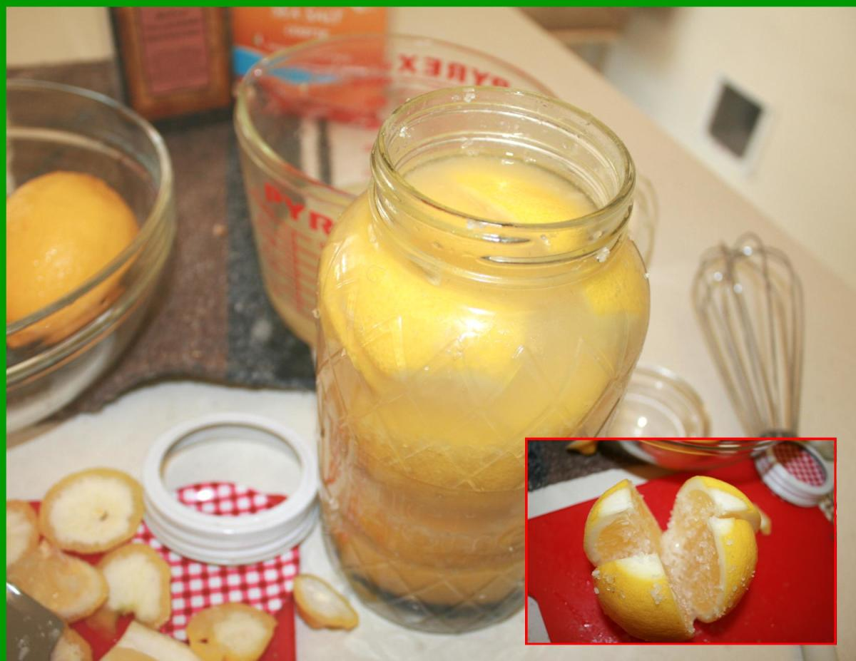 Pressing the salted lemons down in the jar and filling with lemon juice to the top.