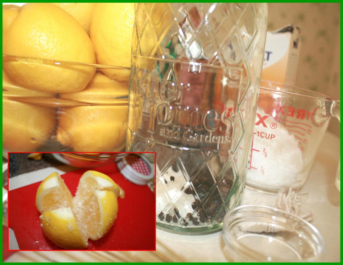 Jar is prepared with salt and whole peppercorns.  Lemons cut and salted with Kosher or Sea Salt