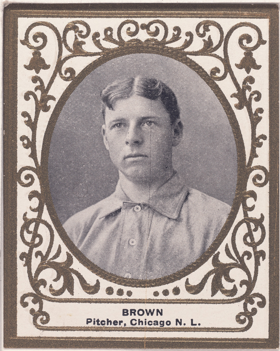"Mordecai ""Three Finger"" Brown had five straight seasons with at least 20 wins and an ERA under 2.00 for the Chicago Cubs. He was born in Terra Haute, Indiana."