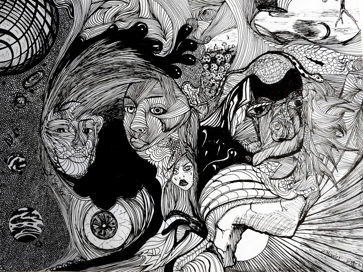 """In The Mind's Eye""  1-19-2021  Pen/Ink"