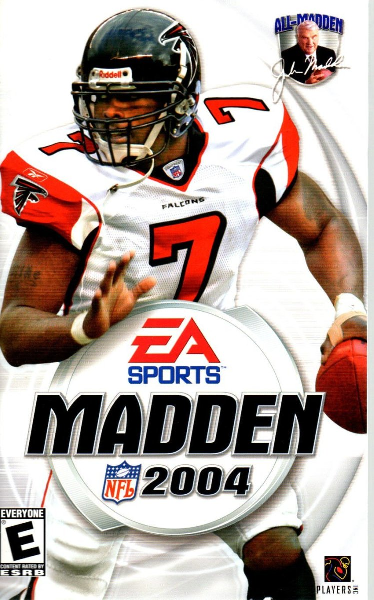 Falcons star QB at the time Michael Vick graced the cover of Madden 2004.