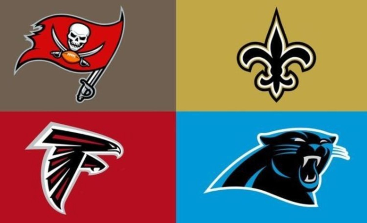 The NFC South consists of the New Orleans Saints, Atlanta Falcons, Tampa Bay Buccaneers, and Carolina Panthers.