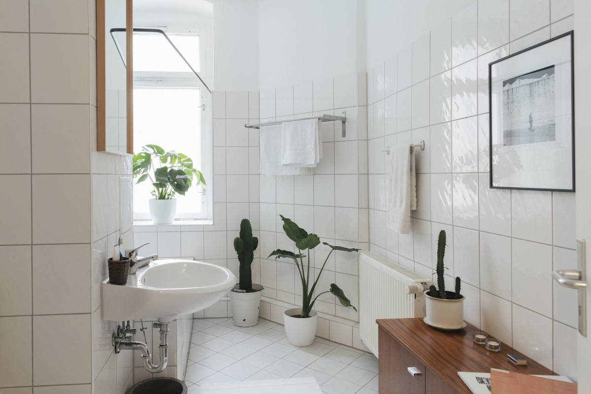 Keep adding pottery and rocks into a bathroom for earth feng shui. Images of mountains, caves, and crag will also help.