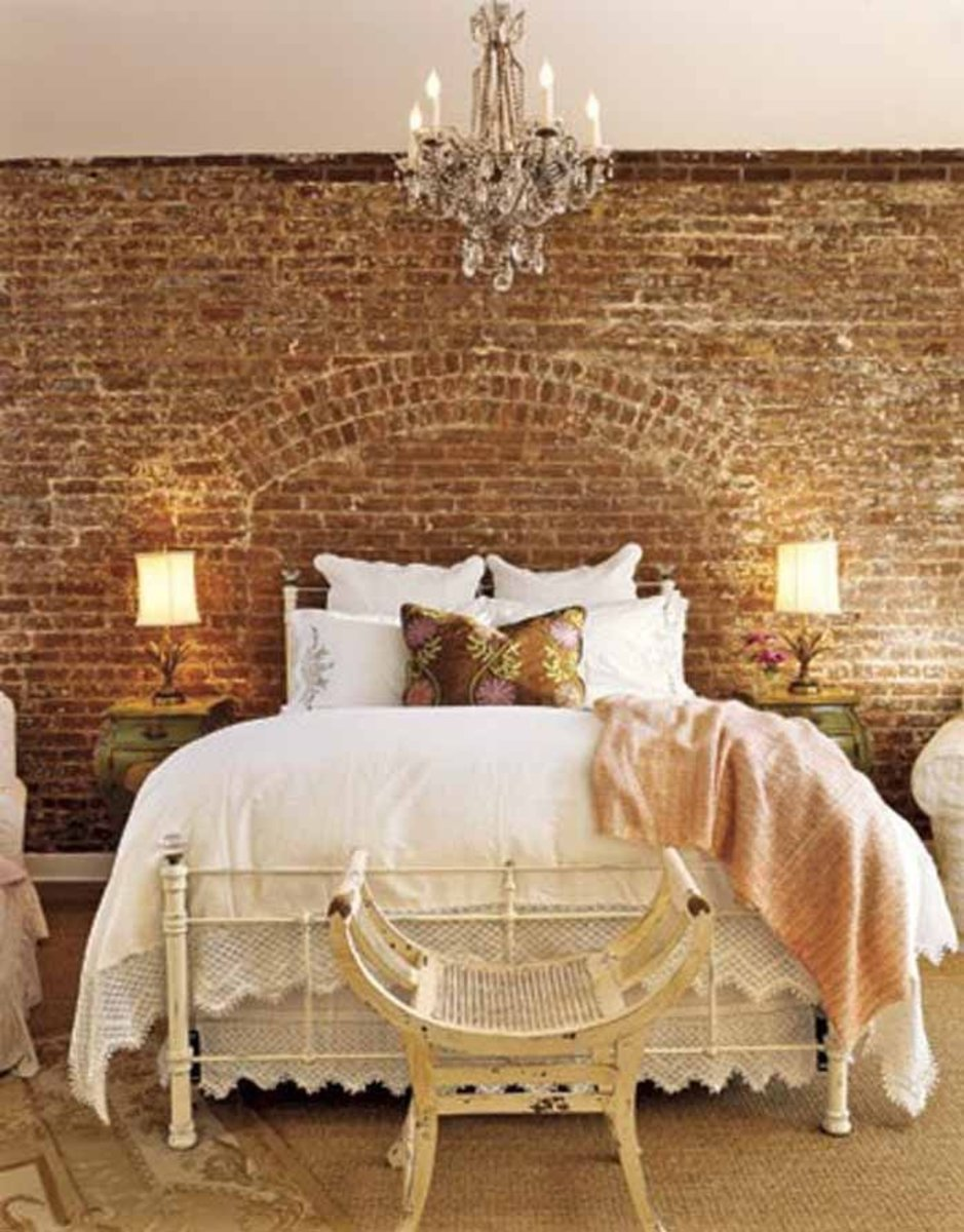 Brick looks nice for a bedroom relying on earth feng shui. The room should be in earth tones. Everything should look tidy and crisp.