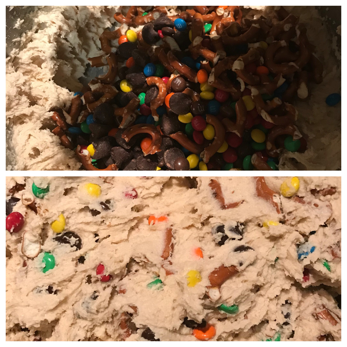 Kitchen Sink Cookie Dough made with chocolates and pretzels.