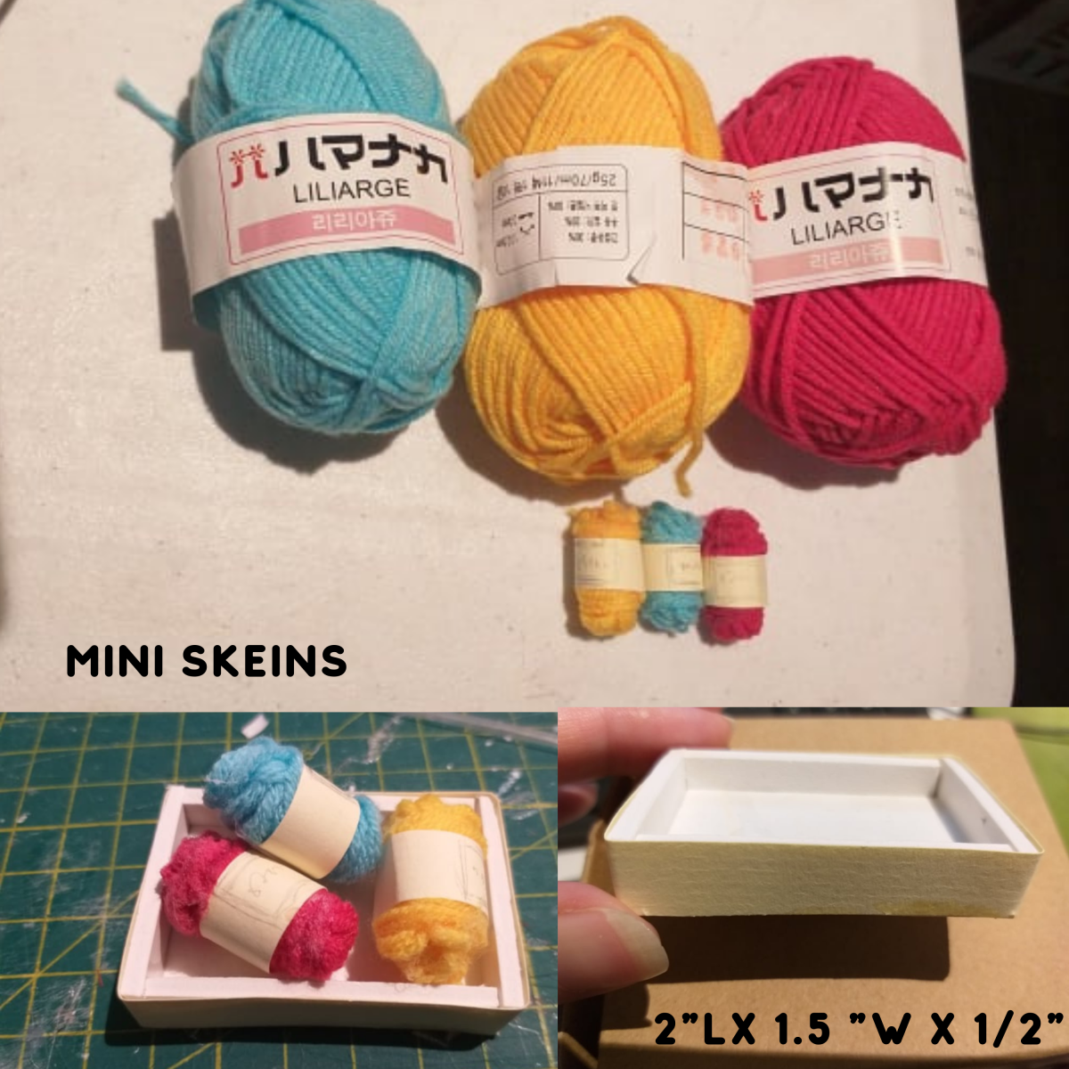 Mini skeins of yarn.