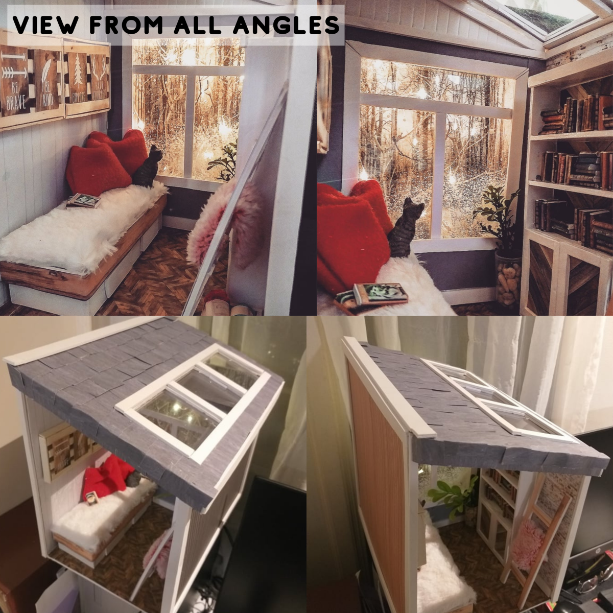 View of the book nook from all angles