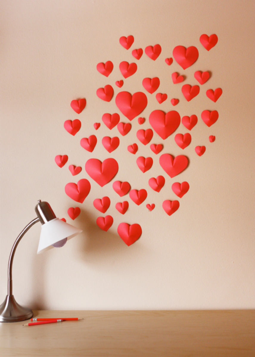 DIY Paper Hearts Wall Decal