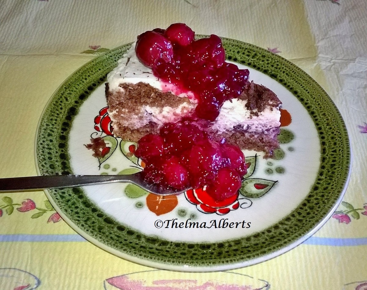 A slice of a small Black Forest  cake last Easter with cherry filling and cherry pudding on top.