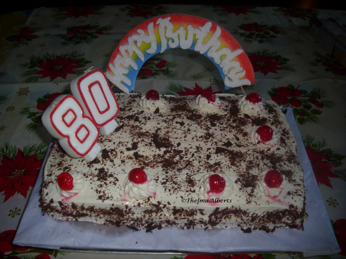 Rectangular Black Forest cake made for an 80 years old client when I was in the Philippines.