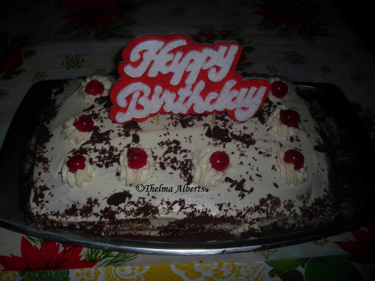 Rectangular Black Forest cake made by me for a client when I was in the Philippines 2013.