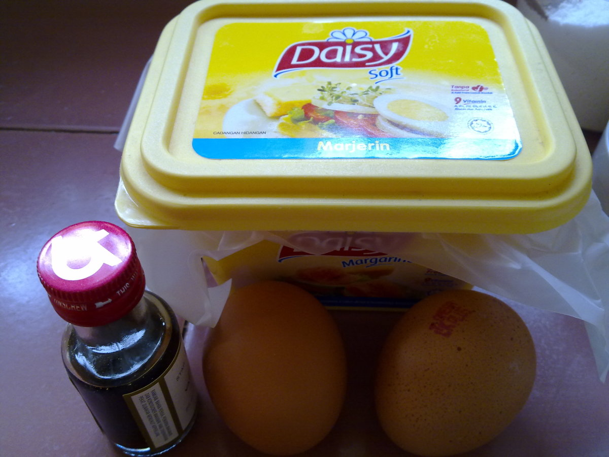 vanilla essence, butter and eggs