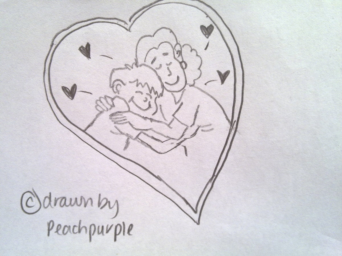 "self drawn by @peachpurple, ""A boy and his mom's love """