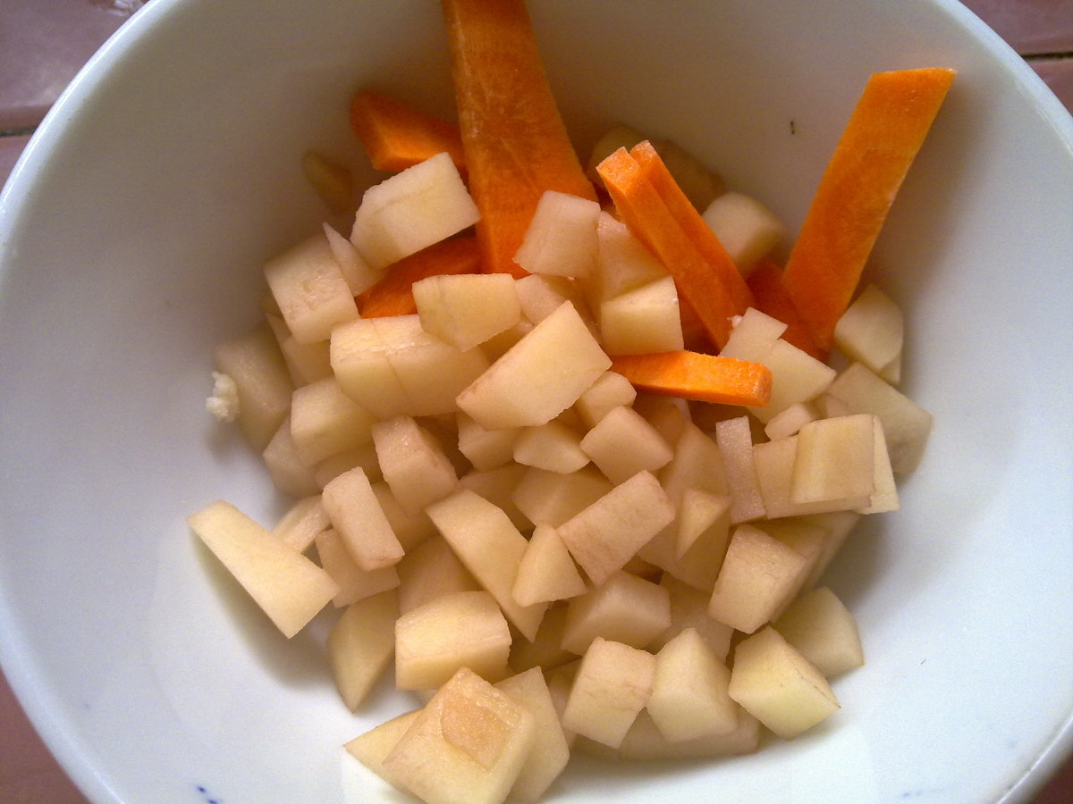cubes of potato and carrots