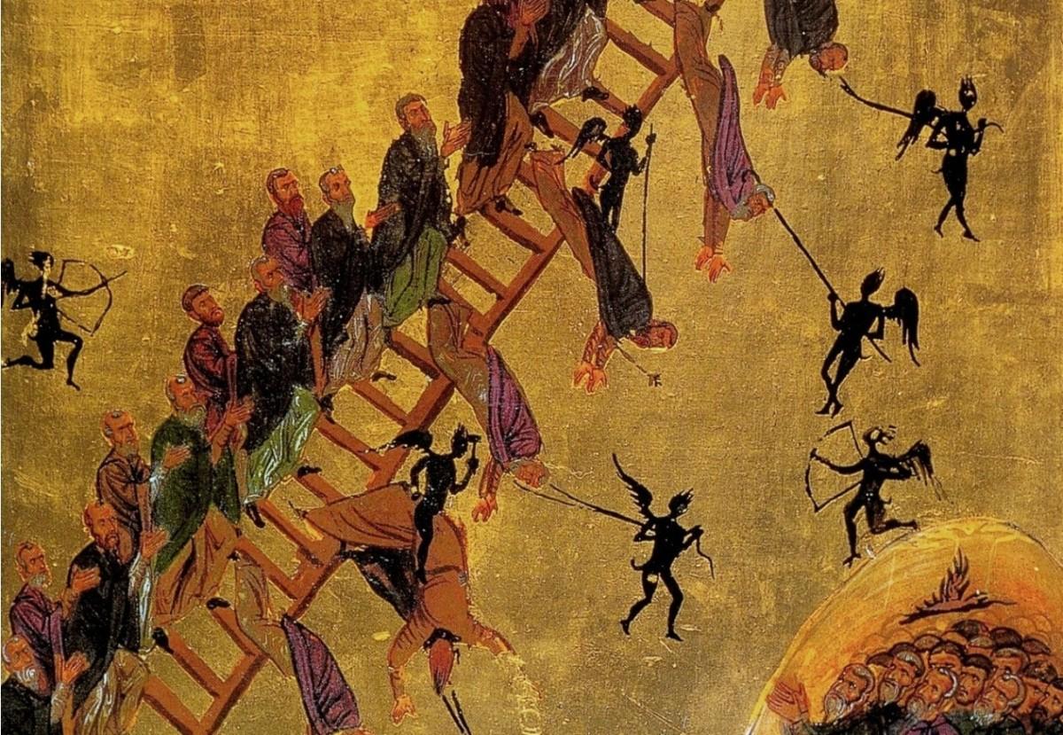 The Ladder of Divine Ascent; monks ascending the ladder to Jesus