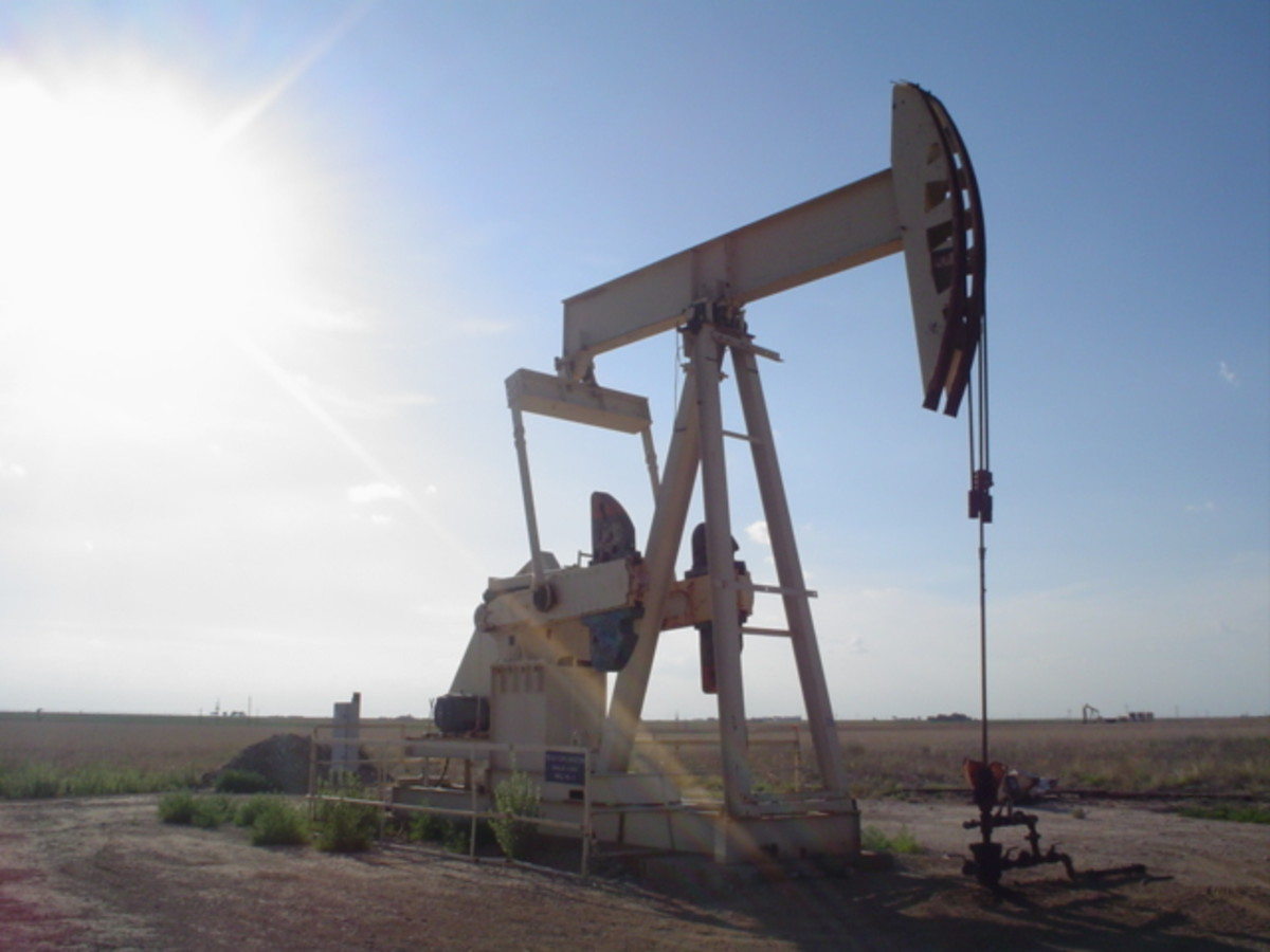 Pumpjack pumping an oil well near Lubbock, Texas