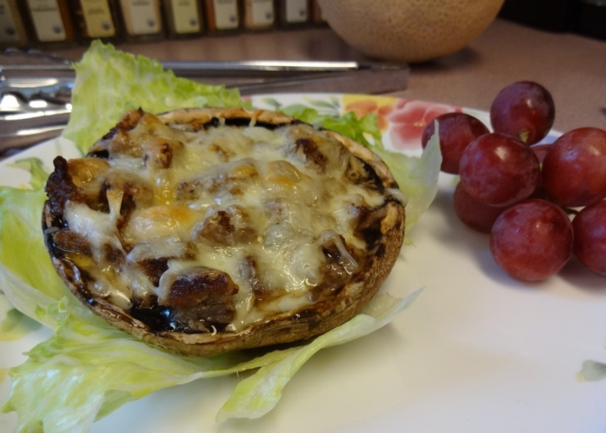 Portobello mushroom with sausage and mozzarella cheese filling
